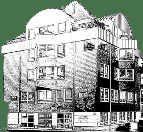 architektonische zeichnung eines gebaeudes